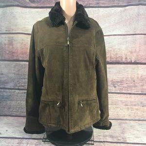 Guess Coat women's medium brown suede leather fur